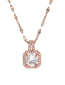 Fashion Rose Gold Stainless Steel Geometric Square Necklace With Diamonds