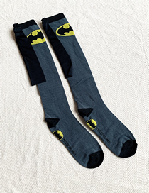 Fashion Gray Children's Stockings With Contrasting Geometric Shapes
