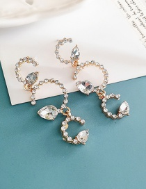 Fashion White Alloy Diamond Drop Earrings