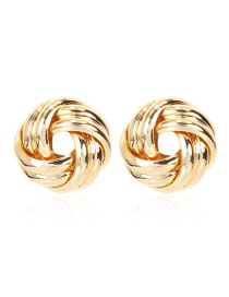 Fashion Golden Geometric Hollow Round Alloy Stud Earrings