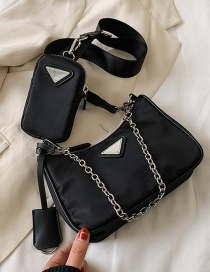 Fashion Black Nylon Chain Cross Body Shoulder Bag