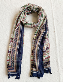 Fashion  Knitted Navy Blue Border Geometric Print Scarf