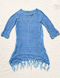 Fashion Blue Knitted Openwork Tassel Top
