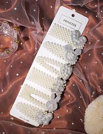 Fashion White Pearl Bunny Love Bear Butterfly Geometric Hairpin Set