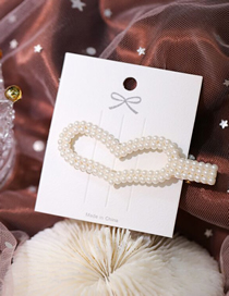 Fashion White Hand-woven String Pearl Love Hollow Hairpin
