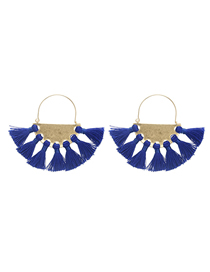 Fashion Blue Cotton And Tassel Fringed Geometric Scalloped Earrings