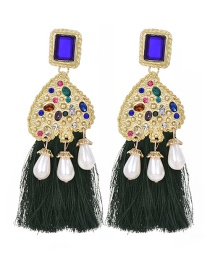 Fashion Dark Green Pearl Tassel Stud Earrings With Alloy Diamonds