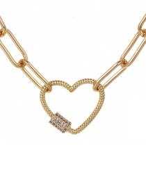 Fashion Gold 60cm Copper-set Zircon Love Necklace