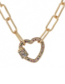 Fashion Gold 40cm Copper-set Zircon Love Necklace