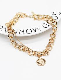 Fashion Golden Portrait Embossed Thick Chain Double Necklace