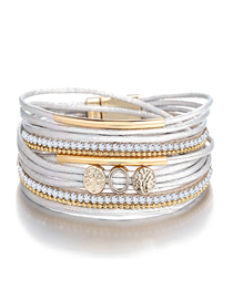 Fashion White Life Tree Alloy White Artificial Leather Magnetic Buckle Bracelet
