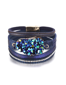 Fashion Blue Cluster Crystal Multi-layer Artificial Leather Magnetic Buckle Bracelet