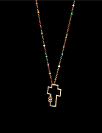 Fashion Golden Diamond-cut Hollow Cross Stainless Steel Necklace
