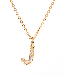 Fashion Golden J Diamond Clavicle Chain Diamond Letters Necklace