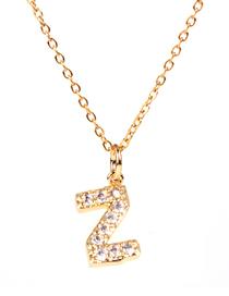 Fashion Golden Z Diamond Clavicle Chain Diamond Letters Necklace