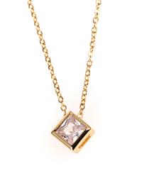 Fashion Golden Geometric Rubik's Cube Large Zircon Stainless Steel Necklace