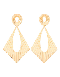 Fashion Golden Metal Wave Texture Diamond-shaped Hollow Alloy Geometric Earrings