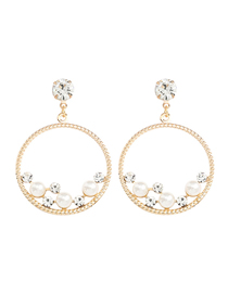 Fashion Golden Round Alloy Acrylic Earrings With Diamonds And Pearls