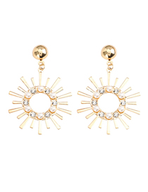 Fashion Golden Sunflower Alloy Acrylic Diamond Diamond Pearl Earrings