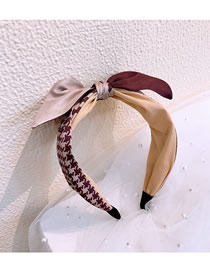 Fashion Red Wine Houndstooth Wide-brimmed Color-coded Letter Bow Headband