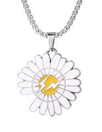 Large Lightning Small Daisy Flower Lightning Alloy Necklace Pendant