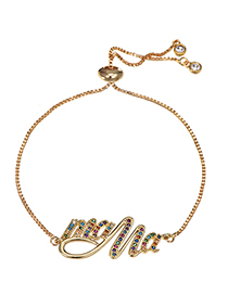 Fashion Golden Mama Bracelet With Copper Zircon Letters