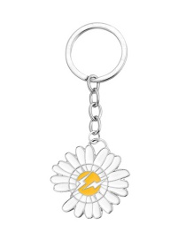 Fashion Lightning Daisy White Notched Daisy Keychain