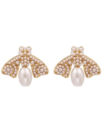 Fashion Pearl White Insect Pearl Earrings