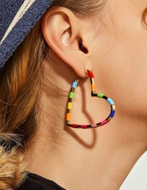 Fashion Color Heart-shaped Striped Spiral Earrings