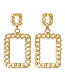 Fashion Golden Hollow Square Earrings With Alloy Chain