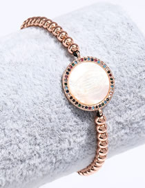 Fashion Rose Gold Copper Plated True Gold Round Resin Portrait Black Rope Hand-woven Bracelet