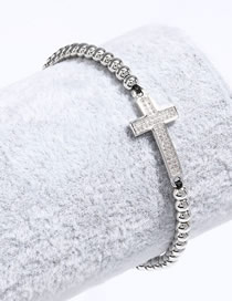 Fashion Silver Cross Copper Plated Real Gold Bead String Black Rope Hand-woven Bracelet