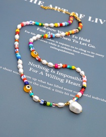 Fashion Color Mixing Glass Eye Natural Freshwater Pearl Geometric Necklace