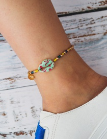 Fashion Green Beaded Alloy Shell Hit Color Anklet