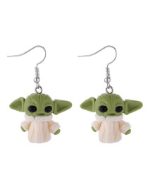 Fashion Green Animal Alien Soft Clay Contrast Color Earrings