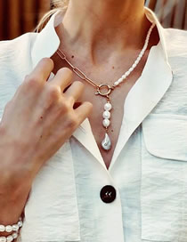Fashion White Asymmetrical Alloy Pearl Necklace Necklace