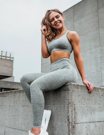 Fashion Grey Green Sports Bra High Waist Seamless Yoga Pants Suit