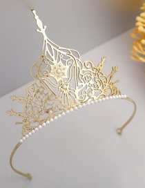 Fashion Golden Pearl Hollow Crown Hoop