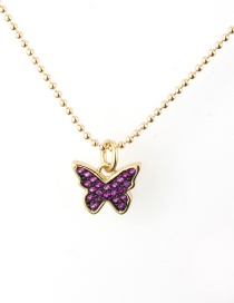 Fashion Gold Plated Zirconium Copper Plated Butterfly Color Zircon Necklace
