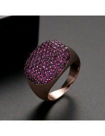 Fashion Red Gold Plated Ring With Copper Plated Zircon