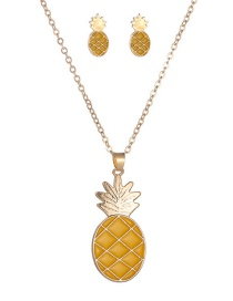Fashion Yellow Alloy Drip Oil Pineapple Necklace Stud Set