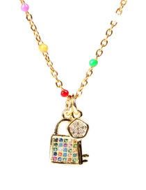 Fashion Golden Diamond Lock Key Pendant Necklace