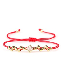 Fashion Square Diamond Red Beads Of Love Woven Micro Bracelet Of Zircon