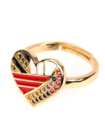 Fashion White Copper Plated Micro Coated Diamond Dripping Oil Love Peach Heart Opening Ring