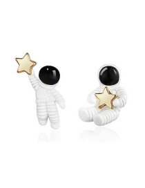 Fashion White  Silver Needle Asymmetric Cartoon Star Space Earrings