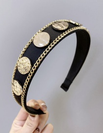 Fashion Golden Chain Alloy Wide Edge Hoop