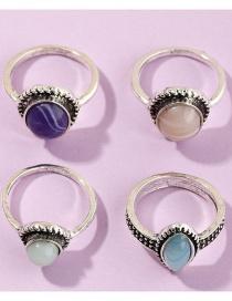 Fashion Silvery Gemstone Ring Four Piece