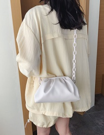 Fashion White Clip On Cloud Chain Shoulder Bag
