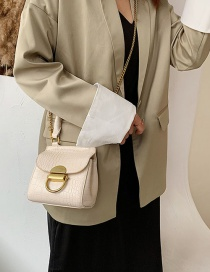 Fashion White Stone Chain Lock Chain Handheld Shoulder Bag
