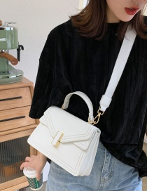 Fashion White Wide Band Lock Single Shoulder Handbag